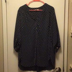 Polka dot navy blue blouse